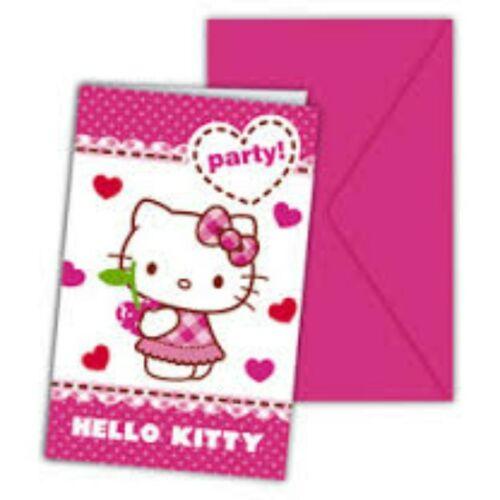 Meghívó, Hello Kitty Hearts - Szíves Parti Meghívó és Boríték - 6 db-os