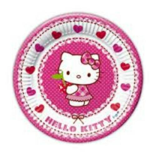 Tányér, Hello Kitty Hearts - Szíves Parti Tányér - 20 cm, 8 db-os