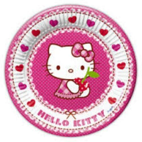 Tányér, Hello Kitty Hearts - Szíves Parti Tányér - 23 cm, 8 db-os