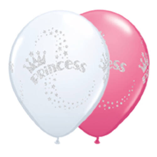 Lufi, 28cm, Glitteres feliratozású, Glitter Princess - Hercegnős White És Rose Lufi (25 Db/Csomag)