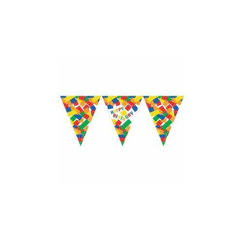 Légtér dekor, Block Party - Lego Parti Szülinapi Zászlófüzér - 3,7 M