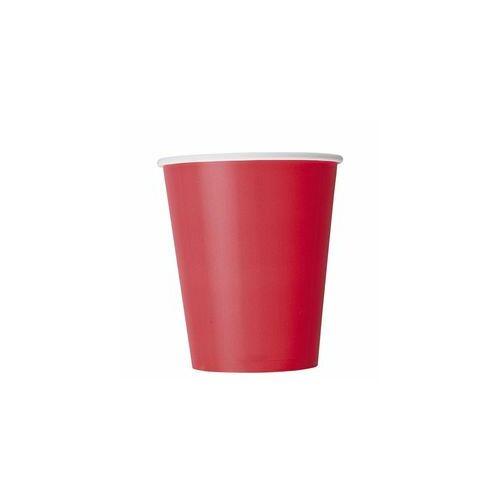 Piros Pohár, Piros Ruby Red Papír Parti Pohár - 270 ml, 8 db-os