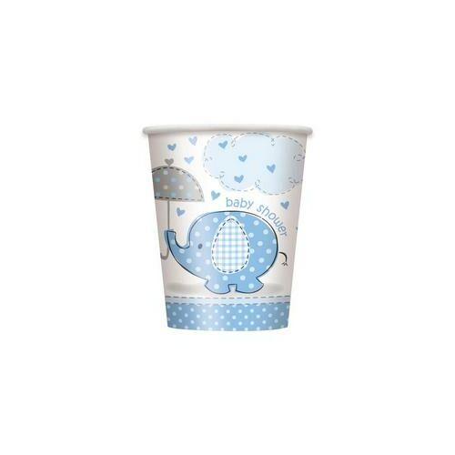 Kék Baby Shower - Bébielefánt Mintás Parti Poharak Babaszületésre