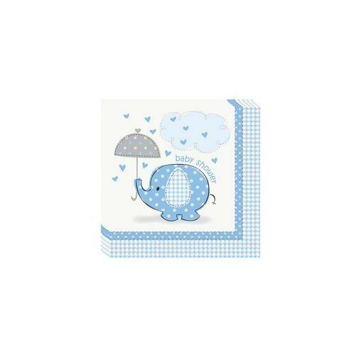 Kék Baby Shower - Bébielefánt Mintás Parti Szalvéták Babaszületésre