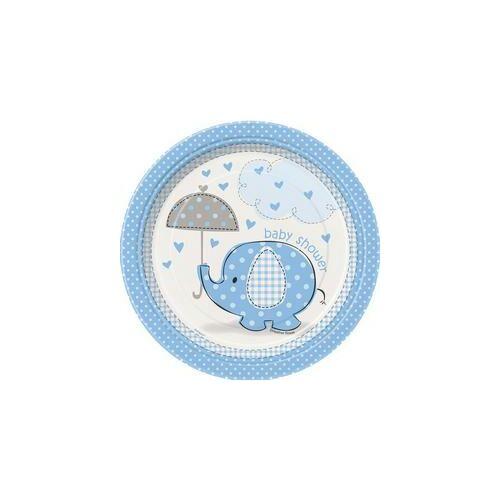 Kék Baby Shower - Bébielefánt Mintás Parti Tányérok Babaszületésre