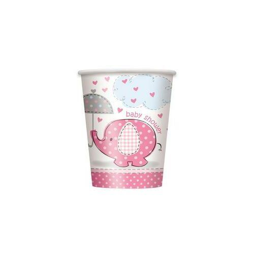 Pink Baby Shower - Bébielefánt Mintás  Poharak Babaszületésre