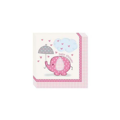 Pink Baby Shower - Bébielefánt Mintás Parti Szalvéta Babaszületésre