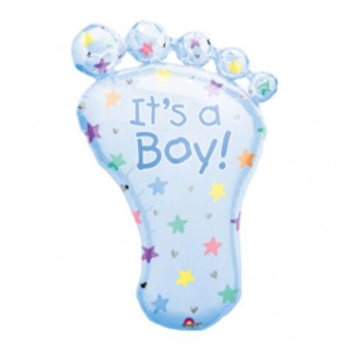 Babaszületésre It Is A Boy Foot - Bébi Talp - Super Shape Fólia Lufi