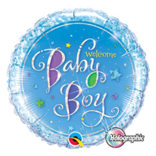 Babaszületésre Welcome Baby Boy Stars Holografikus Fólia Lufi