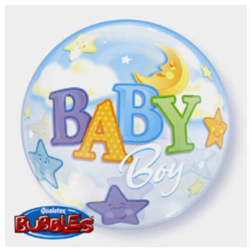 56 cm es Baby Boy Moon és Stars Bubble Bébi Lufi Babaszületésre