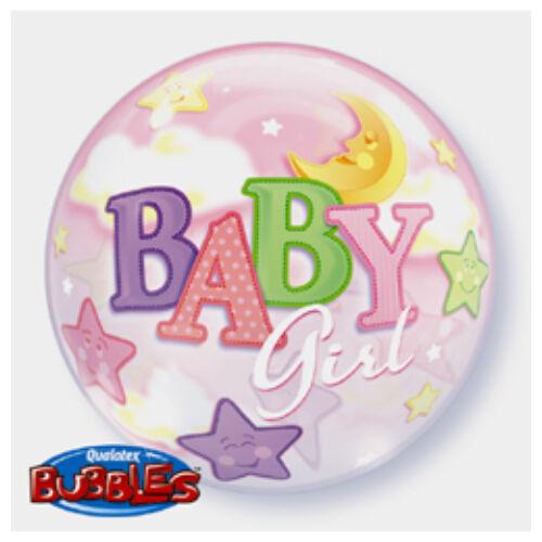 56 cm es Baby Girl Moon és Stars Bubble Bébi Lufi Babaszületésre