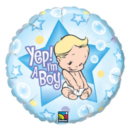 Babaszületésre Vagyok - Yep! I Am A Boy Baby Fólia Lufi Babaszületésre