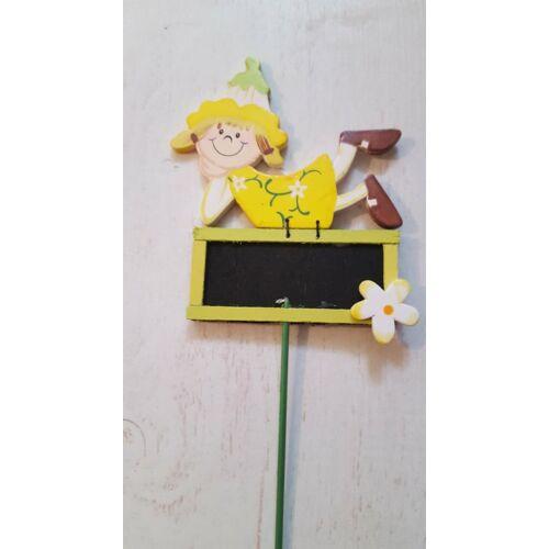 Írható fatábla bonboncsokorba Kislány zöld színű táblával