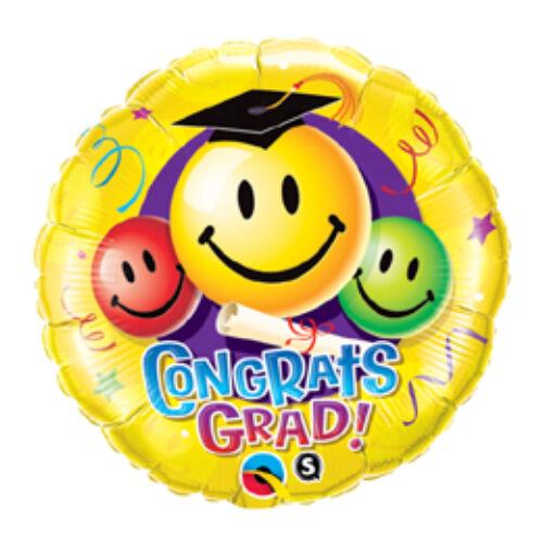 46 cm, Gratulálunk! - Congrats Grad! Smile Faces Ballagási Fólia Lufi