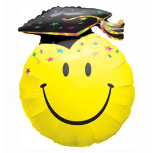 23 cm, Smile Face Party Grad Ballagási Fólia Lufi + pálcikával