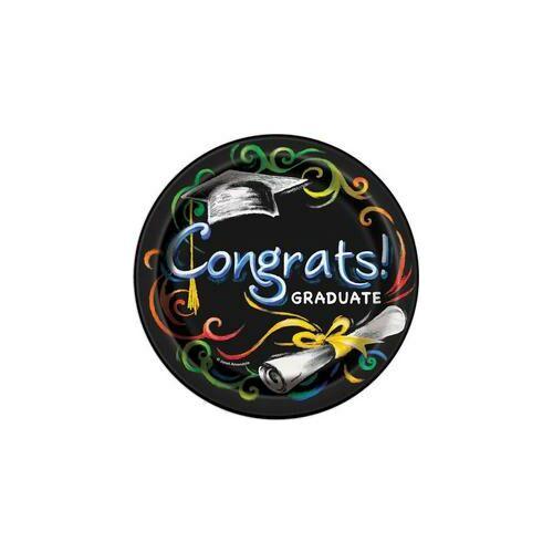 Ballagási Parti Tányér-Congrats Graduate -  - 8 db-os, 17 cm