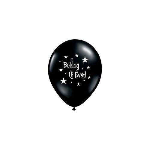 28 cm-es Boldog Új Évet Feliratú Onyx Black Lufi (25 db/csomag)