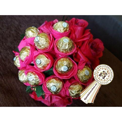 Ferrero Rocher Bonbon körcsokor rózsával