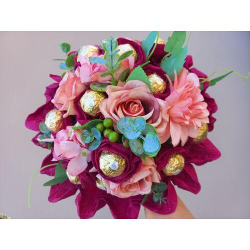 Bonboncsokor -  csokoládé csokor körcsokor, élethű virágokkal