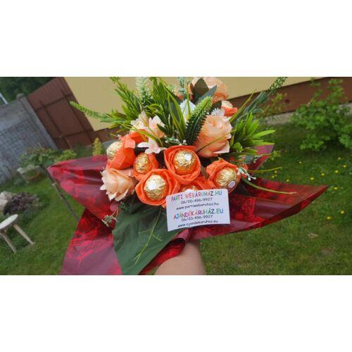 Bonboncsokor Élethű virágokkal + 16 db Ferrero