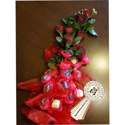 Belga praliné Bonboncsokor+ rózsával ( élethű rózsákkal)