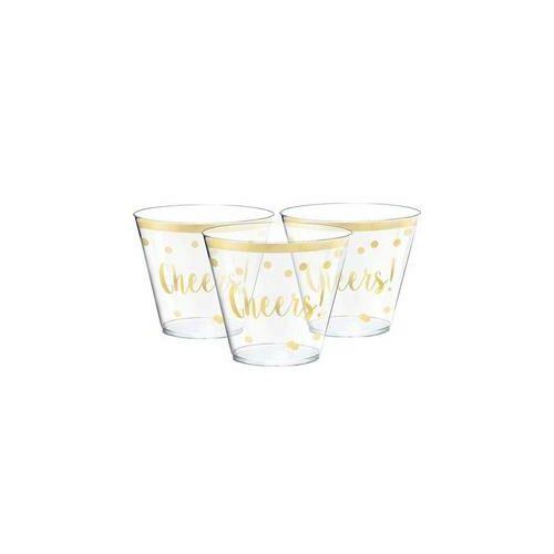 Cheers - ( Egészségére) Feliratú Arany Konfettis Parti Poharak