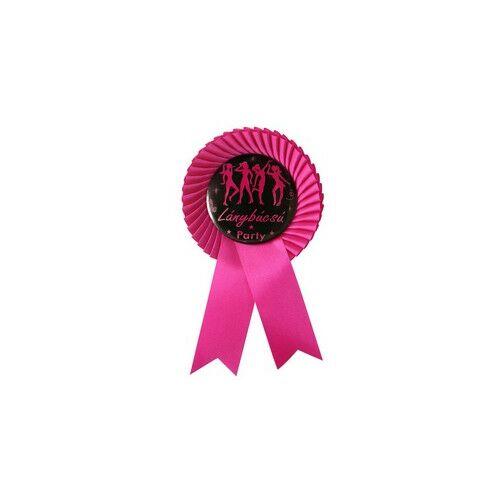 Ciklámen Szalagos Fekete-Rószaszín Lánybúcsú Party Kitűző