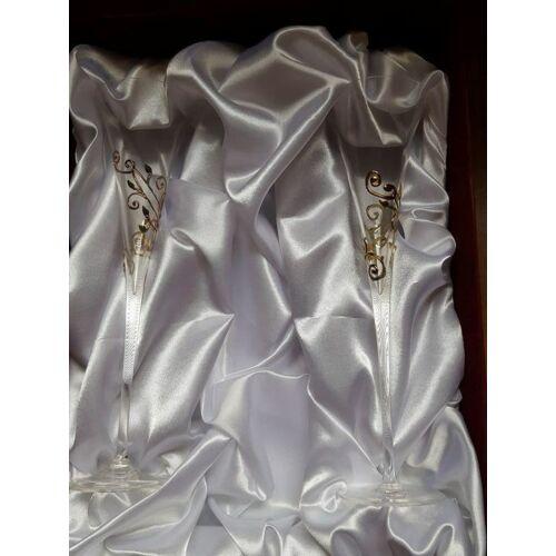 Kézzel díszített aranyozott pezsgőspohár hosszú+ bársonydíszdobozzal