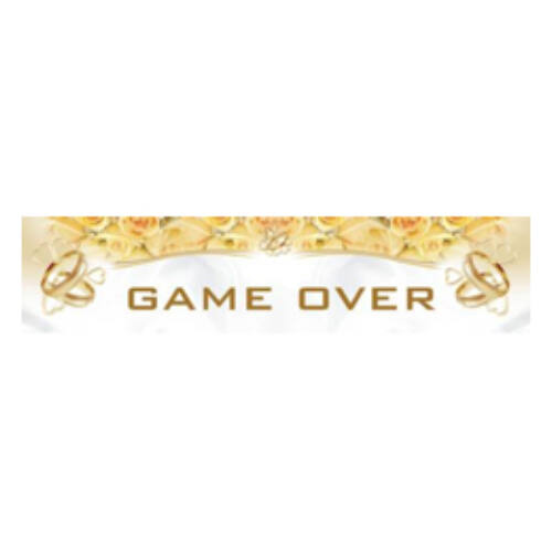 GAME OVER Feliratú Esküvői Rendszámtábla - 50 Cm X 11 Cm