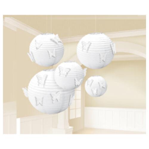 Fehér Színű Gömb 5 db os Lampion + 24 db Pillangó