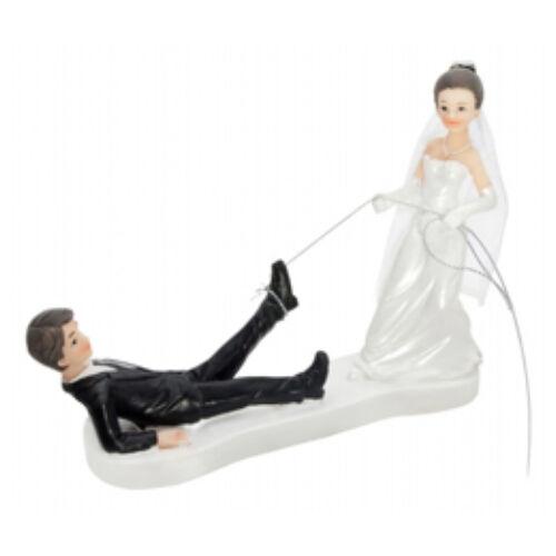 Lasszóval elkapó Vőlegény,  Esküvői Pár Tortadísz