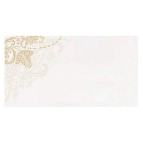 Esküvői Fehér Ültetőkártyák  Arany Virág Mintával