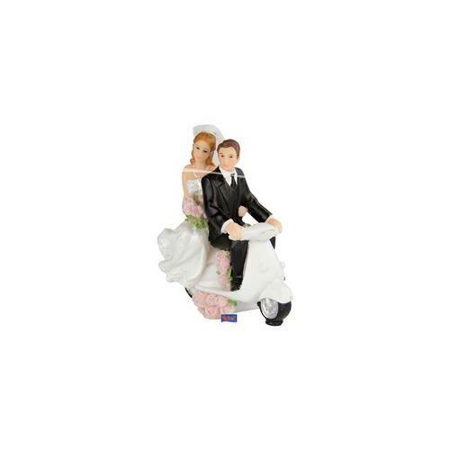 Robogón ülő Esküvői Pár Tortadísz