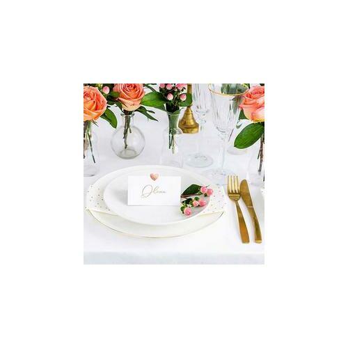 Esküvői Ültetőkártyák fémes  Rosegold Szív Díszítéssel
