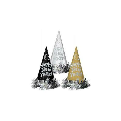 Happy New Year Glitteres Szilveszteri Csákó Kalap, 12 db-os
