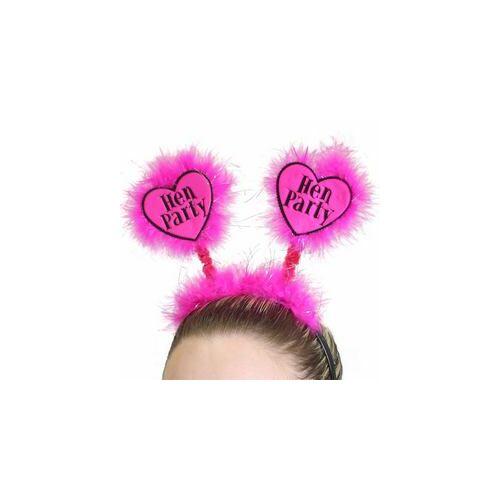 Fejdísz- Hen Party Feliratú Pink Tollas Fejdísz Lánybúcsúra
