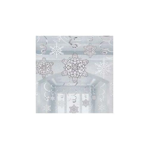 Hópelyhek Spirális Függő Dekoráció - 30 db-os