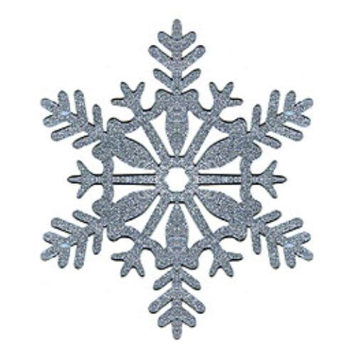 Ezüst Glitteres Hópehely Függő Dekorációk