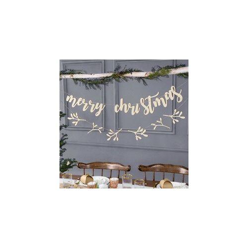 Karácsonyi  Merry Christmas Feliratú Fábol készült Dekoráció