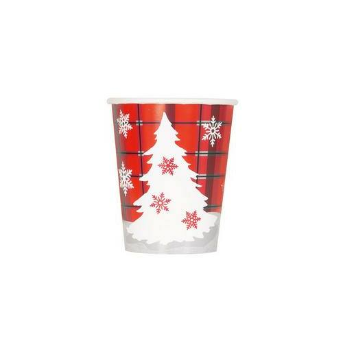 Rusztikus Kockás Karácsonyi Fenyőfa Mintás  Poharak