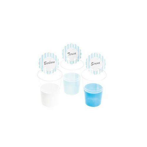 Kék Feliratozható Pohárjelölő Kék - Fehér Csíkos, 12 db