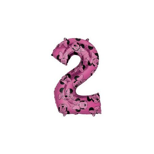 66 cm es Minnie Egér - Minnie Mouse Mintás Number 2 Pink Számos Fólia Lufi