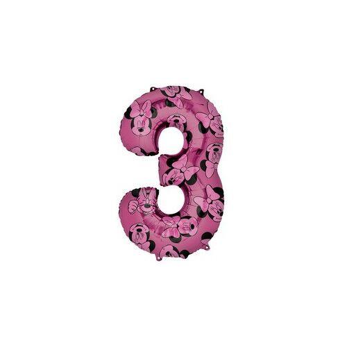66 cm es Minnie Egér - Minnie Mouse Mintás Number 3 Pink Számos Fólia Lufi