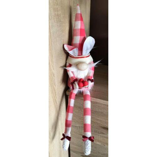 Nyuszis manó piros kockás ruhában 60 cm