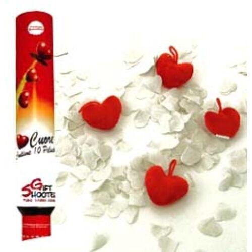 Piros Plüss Szíveket és Fehér Papír Szíveket Kilövő Party Konfetti Ágyú