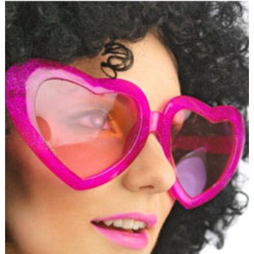 Pink Csillámos Nagy Szív Alakú Szemüveg