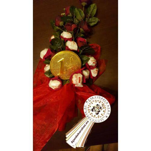 Raffaello bonbon, vörös rózsával + óriás 1 Eurós csokitalléral