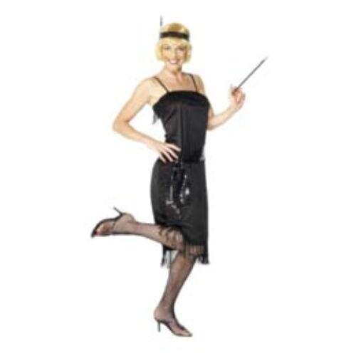 c21e2f494e Charleston 20-as Évekbeli Fekete Női Jelmez S -méretben + fejdísz+ szipka