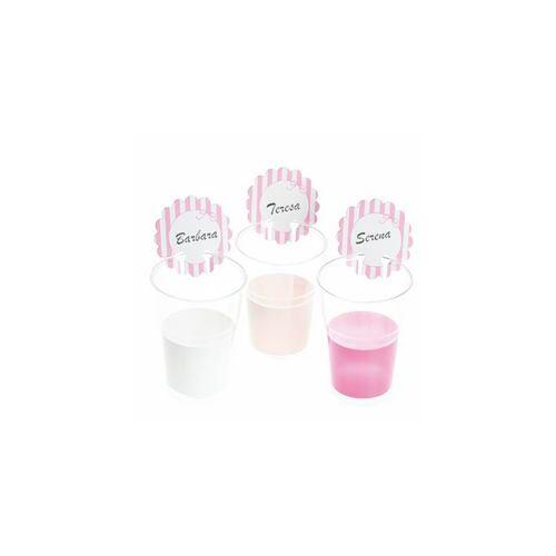 Rózsaszín- Feliratozható Pohárjelölő Rózsaszín - Fehér Csíkos, 12 db