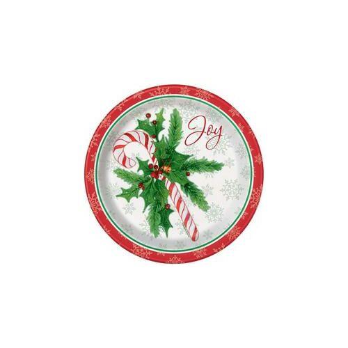 Karácsonyi Parti Tányérok Candy Cane - Cukorpálca